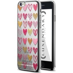 LUXENDARY BLACK & WHITE HEARTS PATTERN DESIGN CHROME SERIES CASE FOR IPHONE 6/6S PLUS