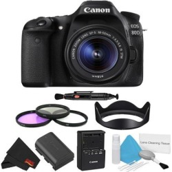 Canon EOS 80D DSLR Camera with 18-55mm Lens Bundle w/ 3 Piece Filter Kit (Intl Model)