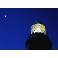 Posterazzi DPI1889822 Moon Crescent Above Lighthouse At Dusk, Low Angle View, Close Up Poster Print, 18 x 13