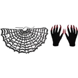 Halloween Black Cloak Spider Web Cape+Scary Gloves Party Fancy Dress Costume