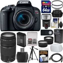 Canon EOS Rebel T7i Digital SLR Camera & EF-S 18-55mm IS STM + 75-300mm Lens + 64GB Card + Case + Flash + Diffuser + Battery & Charger + Tripod Kit