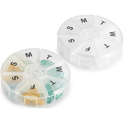 Weekly Pill Organizer - Pack of 2 - Large Round Travel Medication Reminder Daily Monday to Sunday Compartments, 7 Days