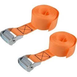 2.5M x 5cm Lashing Strap Cargo Tie Down Straps w Cam Lock Buckle 500Kg Work Load, Orange, 2Pcs