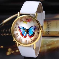 Women Quartz Wrist Watch Roman Numerals Fashionable Butterfly Dial Faux Leather Watch brown