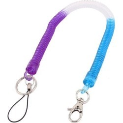 Lobster Clasp Stretchy Coiled Lanyard Keyring Key Holder Tricolor 36cm