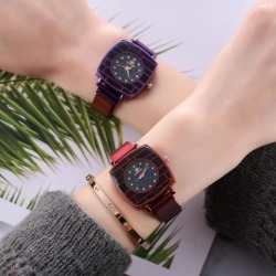Fashion Cool Steel Belt Casual Square Quartz Wrist Watch red