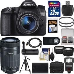 Canon EOS 70D Digital SLR Camera & EF-S 18-55mm IS STM Lens with 55-250mm IS STM Lens + 32GB Card + Case + Flash + Battery + Grip + Tripod Kit