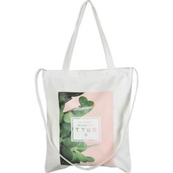 Home Travel Canvas Leaf Pattern Cosmetic Toothpaste Towel Holder Tote Bag White