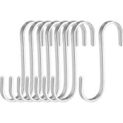 Stainless Steel S Hooks 3' Flat S Shaped Hook Hangers for Kitchen Bathroom Bedroom Storage Room Office Outdoor Multiple Uses 8pcs