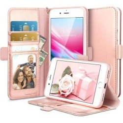 iPhone 8 Plus Case, iPhone 7 Plus Case, ESR Premium PU Leather Flip Wallet Case with [Strap Card Slots Stand Pouch] [Front and Back Protective] Cover
