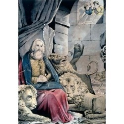 Posterazzi SAL9001225 Daniel in the Lions Den Currier & Ives Color Lithograph 1857-1907 Washington DC Library of Congress Poster Print - 18 x 24 in.