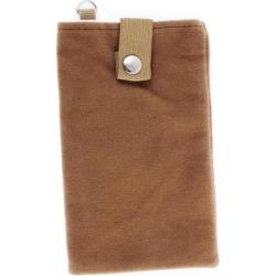 Unique Bargains Velvet Magnetic Clasp Button Cell Phone Pouch Sleeve Bag Light Brown 16x9.5cm