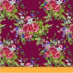 Soimoi Floral Print 60 GSM Decorative 58 Inches Wide Dressmaking Cotton Fabric For Sewing By The Meter - Maroon