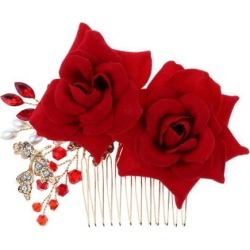 Wedding Bridal Pearl Hair Comb Red Rose Crystal Headpiece Hair Accessory