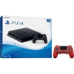 Playstation 4 Slim 1TB Jet Black Gaming Console Bundle With an Extra Magma Red DualShock 4 Wireless Controller