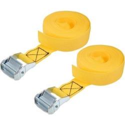 5M x 38mm Lashing Strap Cargo Tie Down Straps w Cam Lock Buckle 500Kg Work Load, Yellow, 2Pcs