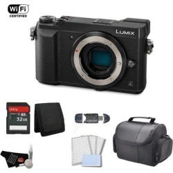 Panasonic Lumix Mirrorless Micro Four Thirds Digital Camera (Body Only, Black) Bundle with 32GB Memory Card + Carrying Case + More