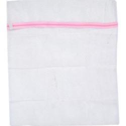 Pink Zippered Foldable Nylon Clothes Laudry Washing Mesh Bag Net Holder
