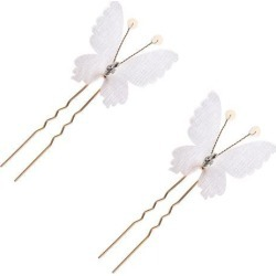 2pcs Elegant Girls Butterfly Rhinestone Hair Pins Headpiece Jewelry White