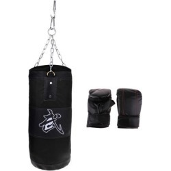 Canvas Empty Fitness Kickboxing Punching Bag With PU Leather Boxing Gloves