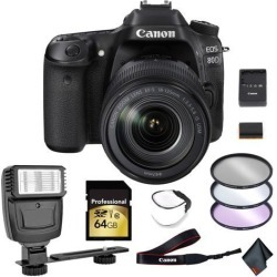 Canon EOS 80D DSLR Camera with 18-135mm Lens 64GB Memory Card, Filters, Camera Strap Starter Bundle International Model