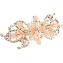 New Crystal Rhinestone Flower Hair Spring Clip Women Hair Jewelry Beige