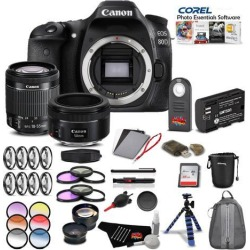 Canon EOS 80D DSLR Camera with Canon EF-S 18-55mm Lensand 50mm Lens Portrait Combo International Model