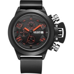 Megir Sport Military Famous Mens Watches Waterproof Military Quartz Watches Sports Silicone Strap Chronograph Wrist Watch for Man