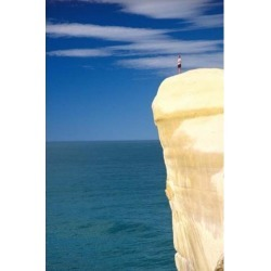 Person on Cliff Top, Tunnel Beach, Dunedin, New Zealand Poster Print by David Wall (24 x 37)
