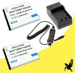 Two Halcyon 1300 mAH Lithium Ion Replacement Battery and Charger Kit for Samsung DualView TL225 12.2 MP Digital Camera and Samsung SLB-07A