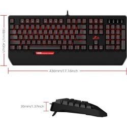 USB K66 Anti-ghosting PC Mechanical Gaming Keyboard With 3 Macro Keys and Backlight(Red-Backlight)