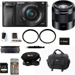 Sony a6000: Alpha A6000 Mirrorless Digital Camera with 16-50mm and 50mm Lens Bundle and Best 32GB Mirrorless Camera Kit