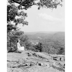 Posterazzi SAL255424503 USA Connecticut Farmington Valley Woman Sitting on Rock & Looking at View Poster Print - 18 x 24 in.