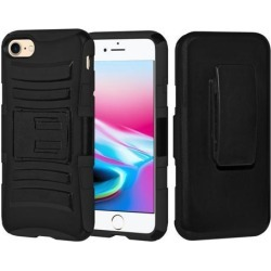 Rugged TUFF Hybrid Armor Hard Defender Case with Holster - Black/ Black for iPhone 8