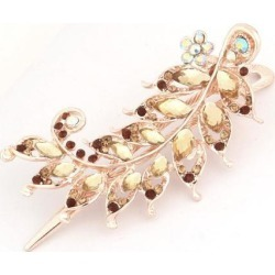 Women Faux Crystal Leaves Pattern Beak Hari Clip Hairpin Ornament 4.9 Inch Long