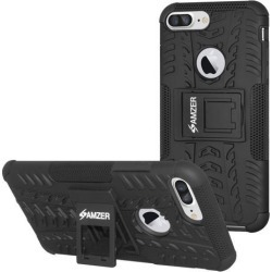 Amzer Hybrid Warrior Case - Black/ Black for iPhone 8 Plus