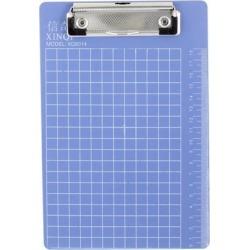 Checkered Print Plastic A5 File Menu Paper Clipboard 8.7' x 6' Steel Blue