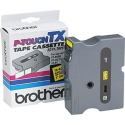 Brother TX6511 P-touch Laminated Tape,24mm (0.94') Black on Yellow tape for P-Touch 15m (50 ft)