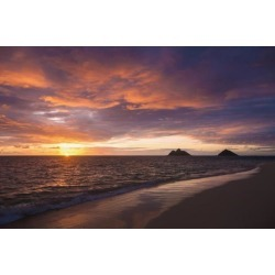 Posterazzi DPI12278628 Sunrise at Lanikai Beach - Kailua Island of Hawaii Hawaii United States of America Poster Print - 19 x 12 in.