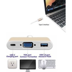 3 in 1 Type-C to VGA USB 3.0 HUB USB-C Charging Port Adapter USB 3.1 Cable For mac