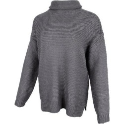 Womens Turtleneck Chunky Knit Sweater Pullover Long Sleeves L Gray