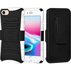 Rugged TUFF Hybrid Armor Hard Defender Case with Holster - Black/ White for iPhone 8