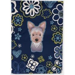 Blue Flowers Yorkie Puppy Flag Garden Size BB5083GF