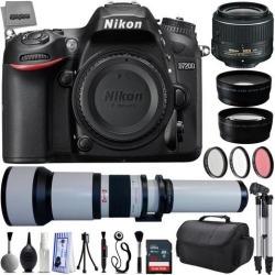 Nikon D7200 24.2MP 1080P DSLR Camera w/ 3.2' LCD - Wi-Fi & GPS Ready + 4 Lens - 18 to 2600mm - 32GB - 30PC Kit - Nikon 18-55VR - Opteka 650-2600mm