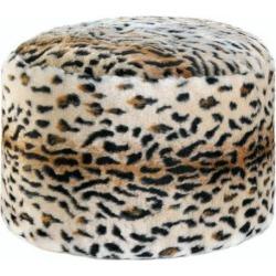 Leopard Print Fuzzy Ottoman Pouf