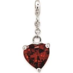 Sterling Silver Dark Red CZ Heart 1/2in Dangle Enhancer