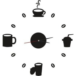 Unique Bargains Clock Design Coffee Mug Cup Wall Decals DIY Mirror Wall Sticker Home Decor found on Bargain Bro India from Newegg Canada for $16.02