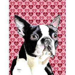 Carolines Treasures SC9279GF 15 x 15 In. Boston Terrier Hearts Love Valentines Day Flag, Garden Size
