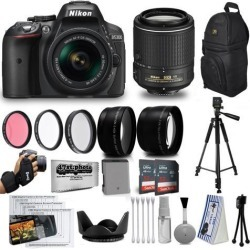 Nikon D5300 24MP DSLR Digital Camera AF-P 18-55mm + NIKKOR Lens 55-200mm + High Definition Professional 3 Piece Filter Kit + 64GB Memory SD Card.