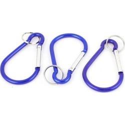 Camping Metal Carabiner Spring Loaded Belt Clips Hook w Key Chain 3pcs Blue